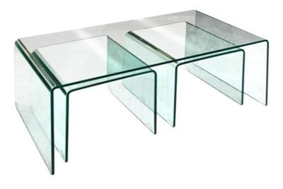 BENT GLASS NEST OF TABLES OBLONG