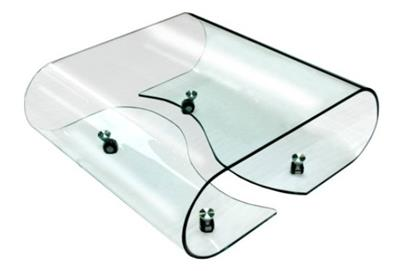 Bent Glass Coffee Table on Wheels