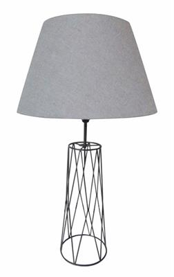 GUN METAL LAMP WITH GREY SHADE BU9648