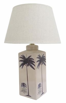 CASABLANCA CRACKLED URN LAMP 540H W 36CM OATMEAL DRUM SHADE