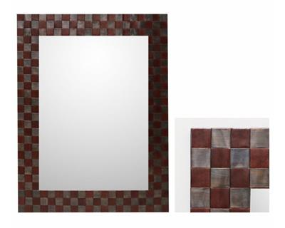 LEATHER MIRROR WITH METAL 1200 X 760 LH2054