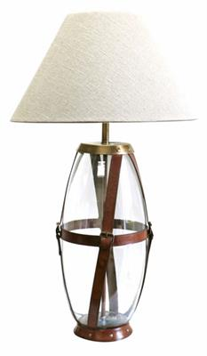 GLASS LAMP WITH TAN LEATHER STRAPS - LH4033