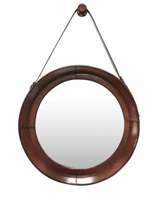 LEATHER SMALL HANGING MIRROR WITH STRAP AND HOOK