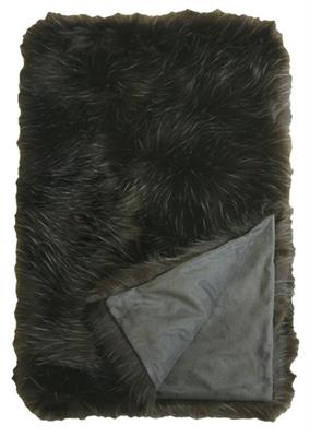 ENRIQUE FAUX FUR THROW  1250 X 1500 DARK OLIVE