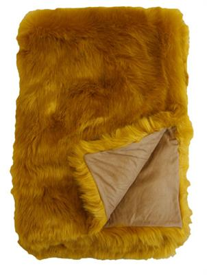 CLAUDE FAUX FUR THROW  1250 X 1500 TUMERIC