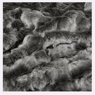 HEIRLOOM FAUX FUR THROW LARGE 2200 X 1500 PEWTER/CHINCHILLA