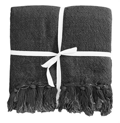 INDIRA LIN/COTTON 1900 X 1300 THROW- CHARCOAL 22521T