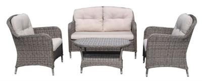 WILLOW OUTDOOR 4PCE LOUNGE - PE WICKER