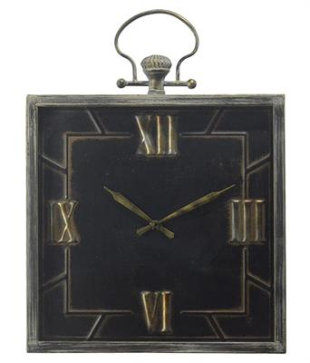 SQUARE METAL CLOCK WITH HANDLE - NE0007